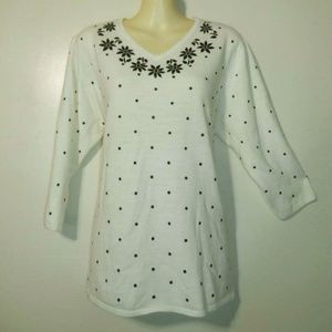 Cathy Daniels Sweater 1X Ivory Black Dotted A597
